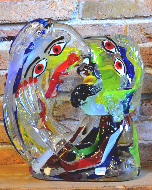 Murano Glass Sculpture, Real Murano Glass, Authentic Murano Glass, Shopping for Murano Glass, Venetian Glass Sculptures, Ex Chiesa Santa Chiara Murano, Shopping on Murano, Contemporary Murano Glass Sculpture, Murano Glass Kissing Sculpture